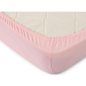 Простынь на резинке трикотажная Светло-розовая